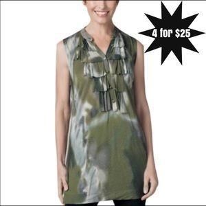 •CAbi• Camo Ruffle Tank Top Style #593